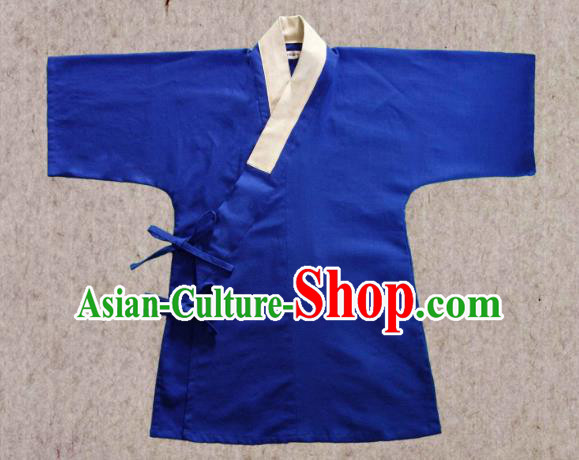 Ancient China Ming Dynasty Swordsman Costumes Hanfu Blue Shirts for Men