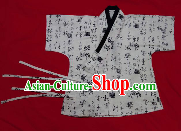 Ancient China Ming Dynasty Swordsman Costumes Hanfu Calligraphy Shirts for Men