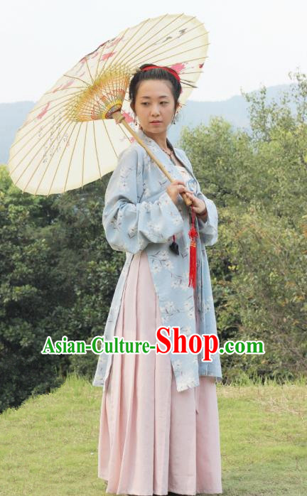 China Ancient  Ming Dynasty Traditional Young Lady Dress Clothing for Women
