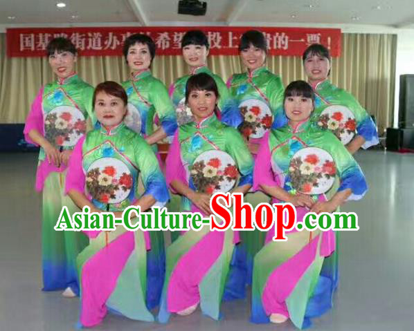 Traditional Chinese Yangge Fan Dance Costume, Folk Yangko Dance Drum Dance Green Clothing for Women