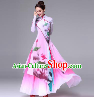 Traditional Chinese Yangge Fan Dance Costume, Folk Yangko Dance Classical Lotus Dance Dress for Women