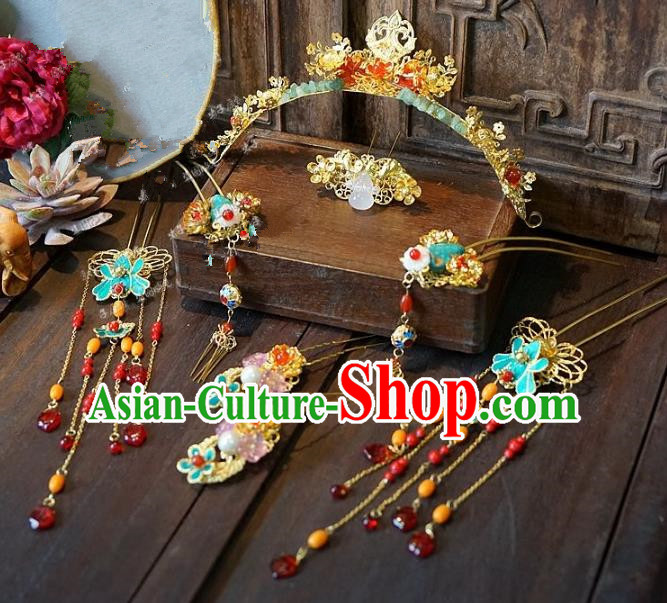 Chinese Handmade Classical Wedding Hairpins Ancient Hanfu Hair Accessories Phoenix Coronet Complete Set for Women
