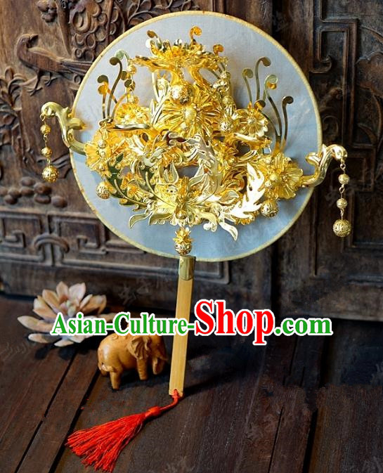 Chinese Handmade Classical Wedding Golden Fans Ancient Palace Round Fans for Women