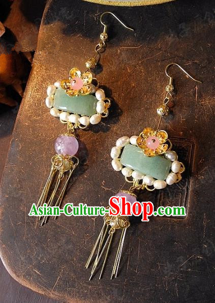 Asian Chinese Traditional Handmade Jewelry Accessories Pearls Tassel Earrings for Women