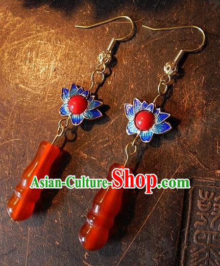 Asian Chinese Traditional Handmade Jewelry Accessories Blueing Lotus Tassel Earrings for Women