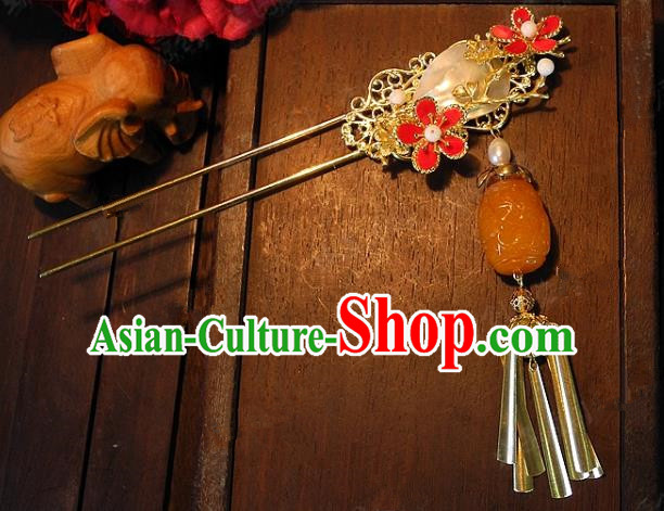 Chinese Handmade Classical Hairpins Ancient Hanfu Beeswax Tassel Hair Clip Headdress Hair Accessories for Women