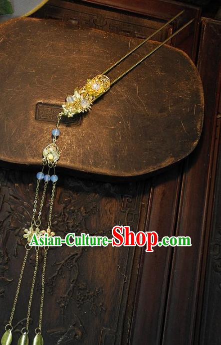 Chinese Handmade Classical Golden Tassel Hairpins Ancient Hanfu Headdress Hair Accessories for Women