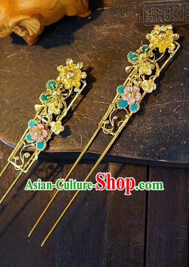 Chinese Handmade Classical Hair Accessories Golden Hair Clip Ancient Hanfu Hairpins for Women