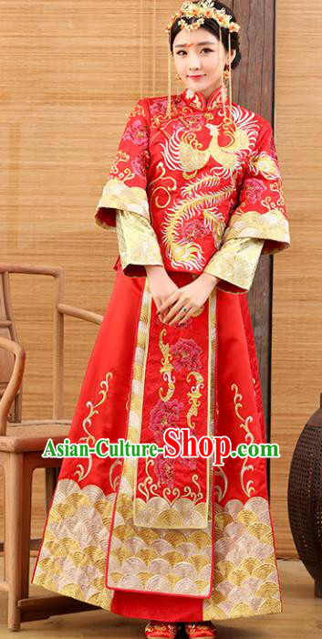 Traditional Ancient Chinese Costume Xiuhe Suits Wedding Embroidered Phoenix Toast Clothing for Women
