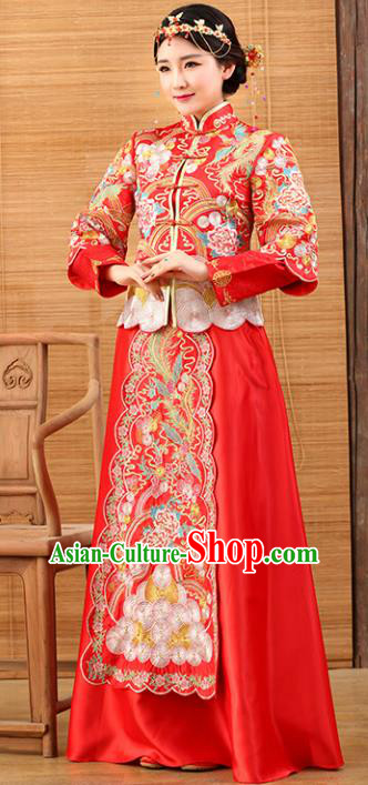Traditional Ancient Chinese Costume Xiuhe Suits Wedding Dress Bride Embroidered Red Toast Clothing for Women
