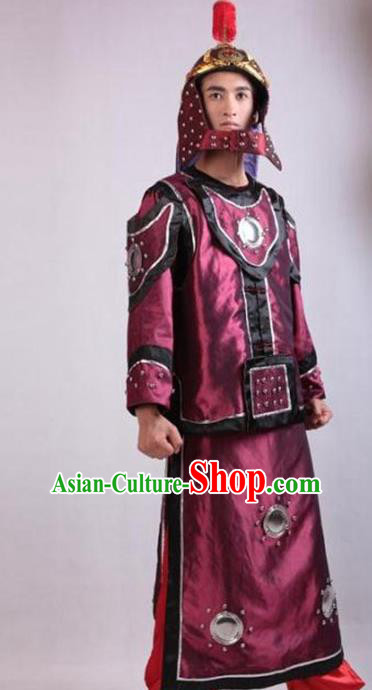 Traditional Ancient Chinese General Qing Dynasty Soldier Helmet and Armour Clothing for Men