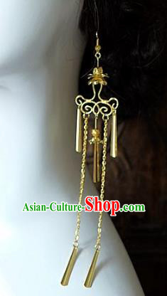Asian Chinese Traditional Handmade Jewelry Accessories Golden Tassel Earrings for Women