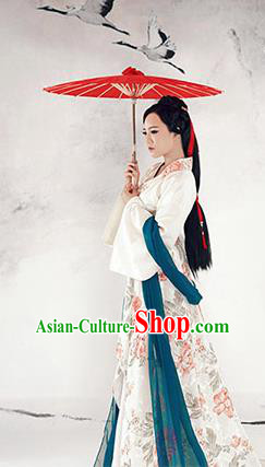 China Ancient Han Dynasty Palace Princess Embroidered Hanfu Costume for Women