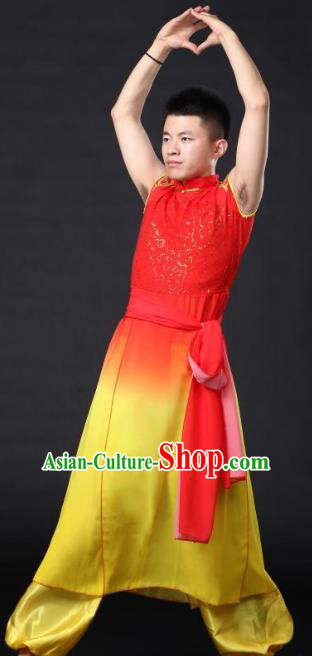 Traditional Chinese Waist Drum Dance Yellow Costume, China Classical Folk Dance Yangko Clothing for Men