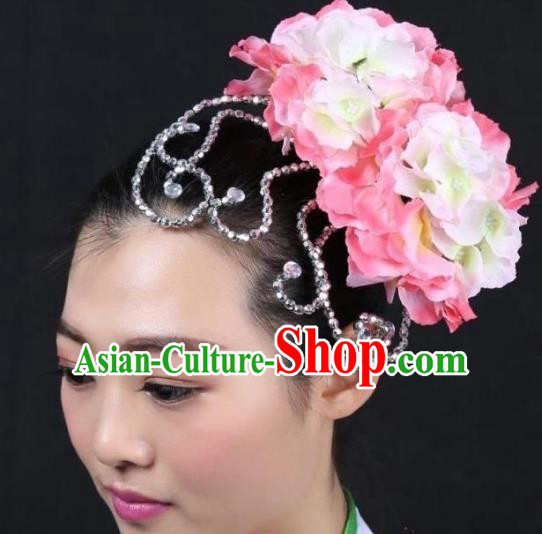 Chinese Classical Yangge Dance Hair Accessories Folk Dance Pink Flowers Headwear for Women
