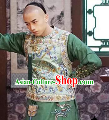 Traditional Chinese Qing Dynasty Royal Prince Embroidered Costume for Men