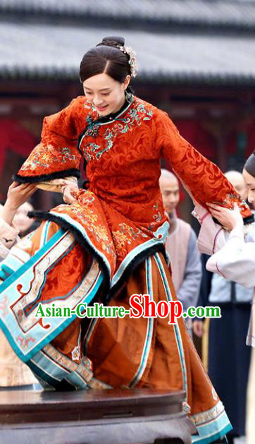 Traditional Chinese Late Qing Dynasty Young Mistress Embroidered Costume Red Xiuhe Suits for Women