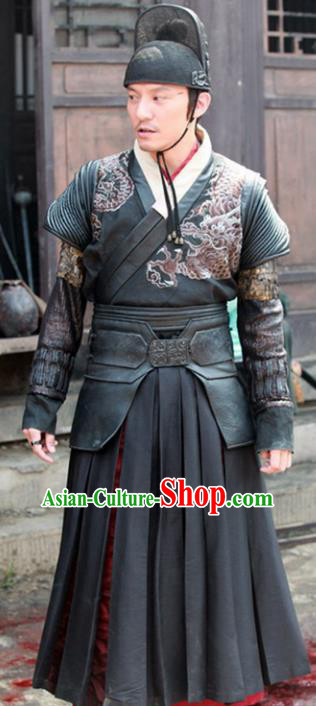 Traditional Chinese Ming Dynasty Imperial Guards Embroidered Costume for Men