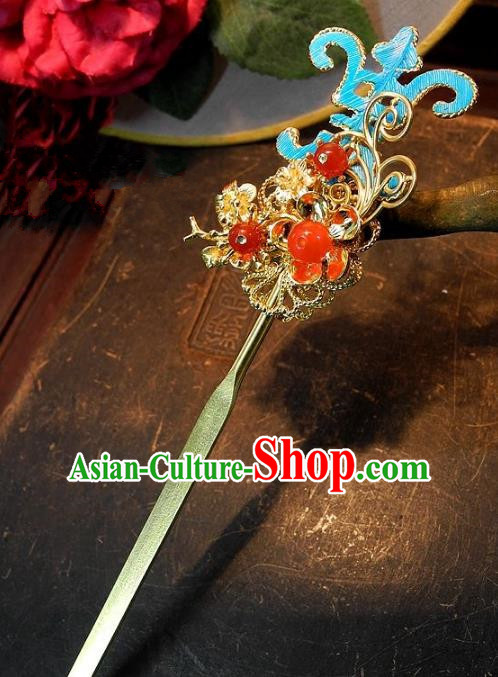 Chinese Handmade Classical Golden Hairpins Ancient Hanfu Wedding Hair Accessories for Women
