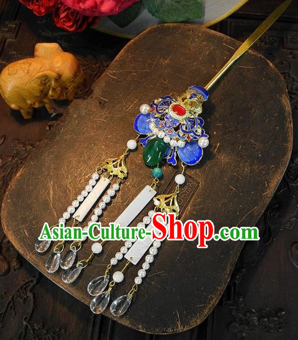 Chinese Handmade Classical Hair Accessories Hairpins Ancient Cloisonne Step Shake Headdress for Women