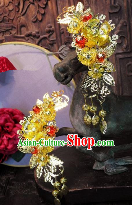 Chinese Handmade Classical Hair Accessories Ancient Wedding Headdress Golden Tassel Hairpins for Women