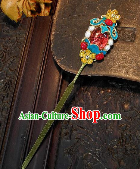 Chinese Handmade Classical Cloisonne Hair Accessories Ancient Wedding Hair Stick Hairpins for Women