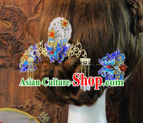 Chinese Handmade Classical Blueing Hair Accessories Ancient Wedding Hair Stick Hairpins Complete Set for Women