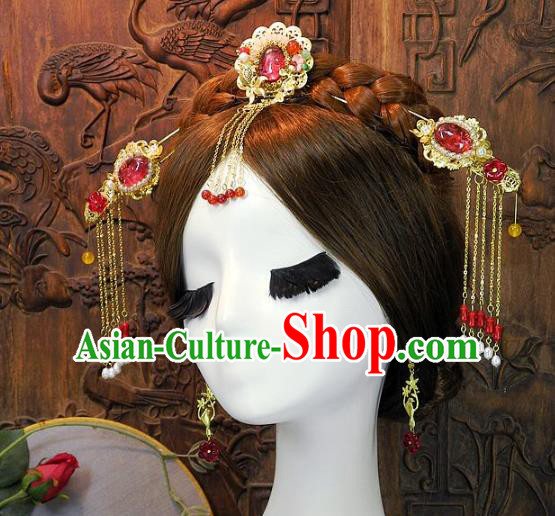 Chinese Handmade Classical Hair Accessories Ancient Wedding Bride Hairpins Complete Set for Women