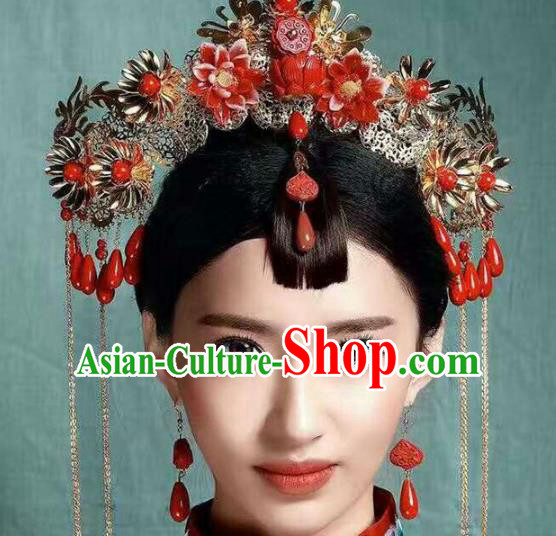 Chinese Handmade Classical Wedding Hair Accessories Ancient Bride Phoenix Coronet Complete Set for Women
