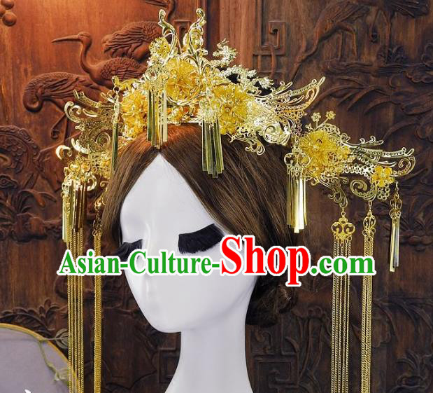 Chinese Handmade Classical Golden Phoenix Coronet Ancient Queen Hanfu Wedding Headdress Hair Accessories for Women
