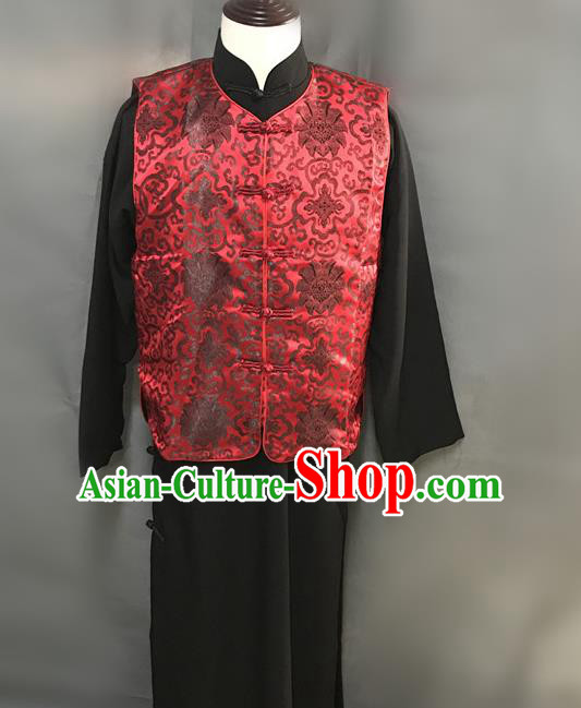 Traditional Chinese Stage Performance Costume Ancient Qing Dynasty Manchu Landlord Red Clothing for Men