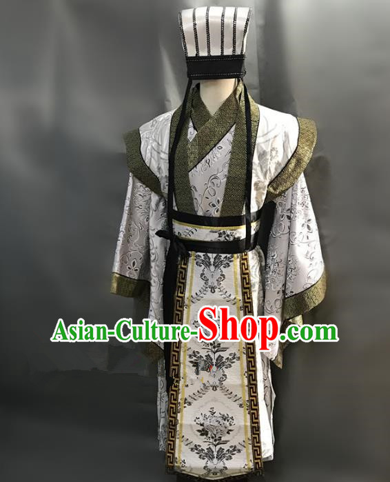Traditional Chinese Stage Performance Costume Ancient Three Kingdoms Period Minister Hanfu Clothing for Men