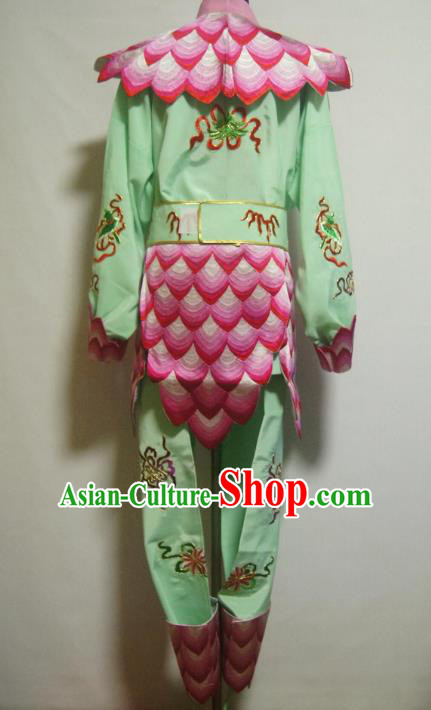 Traditional Chinese Stage Performance Costume Ancient Cosplay Nezha Green Clothing for Men