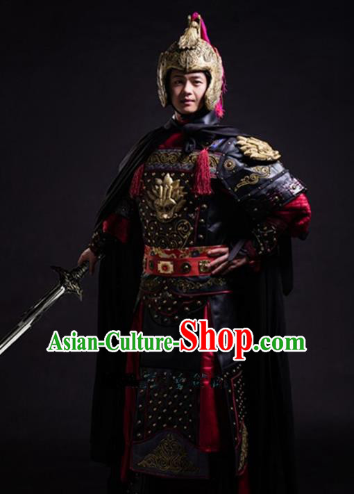 Traditional Chinese Stage Performance Costume Ancient Han Dynasty General Helmet and Armour for Men