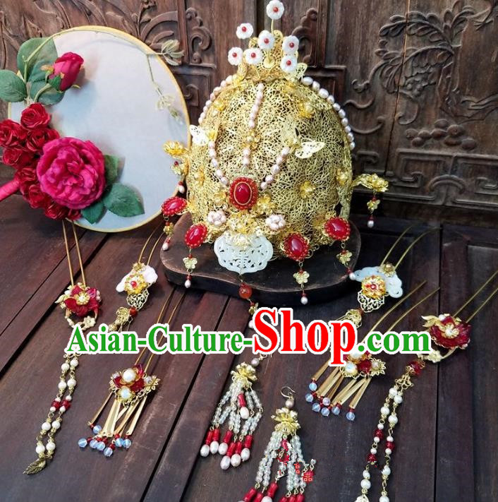 Chinese Handmade Classical Wedding Hair Accessories Phoenix Coronet Ancient Hanfu Bride Hairpins Complete Set for Women