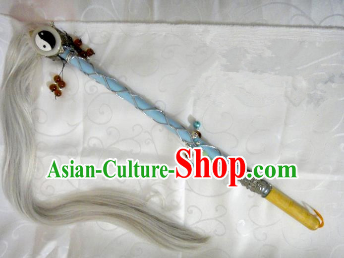 Traditional China Ancient Cosplay Taoist Priest Tai Chi Horsetail Whisk