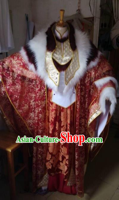 China Ancient Cosplay Emperor Swordsman Costume Knight Fancy Dress Hanfu Clothing for Men