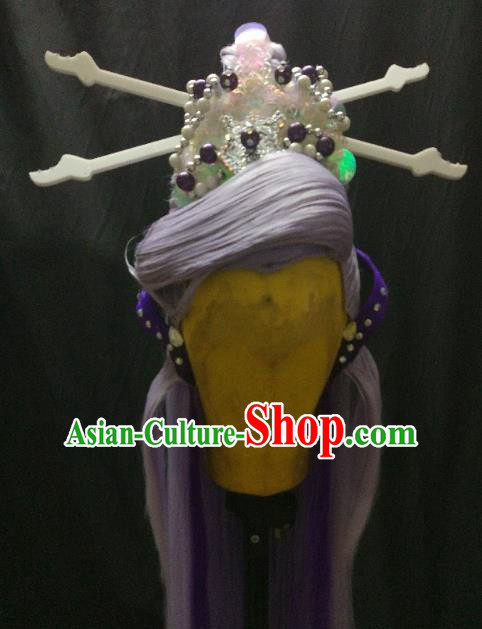 Traditional China Ancient Cosplay Princess Swordswoman Wig and Hair Accessories Hairpins