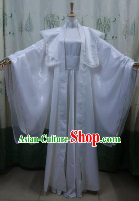 China Ancient Cosplay Swordswoman Costume Traditional Palace Lady White Hanfu Dress for Women