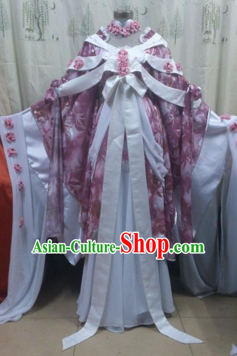 Traditional China Ancient Cosplay Asmodians Princess Costume Hanfu Purple Dress for Women