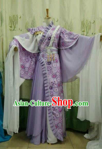 China Ancient Cosplay Palace Lady Halloween Costume Traditional Fairy Hanfu Purple Dress for Women