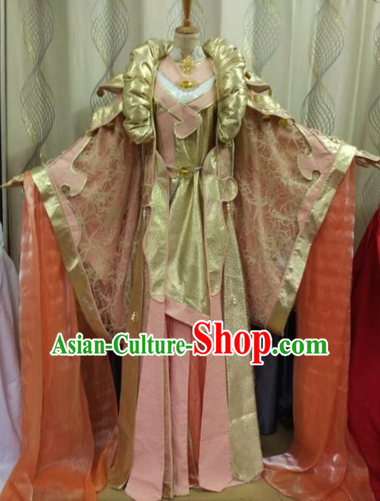 China Ancient Cosplay Palace Lady Costume Traditional Halloween Fairy Hanfu Pink Dress for Women