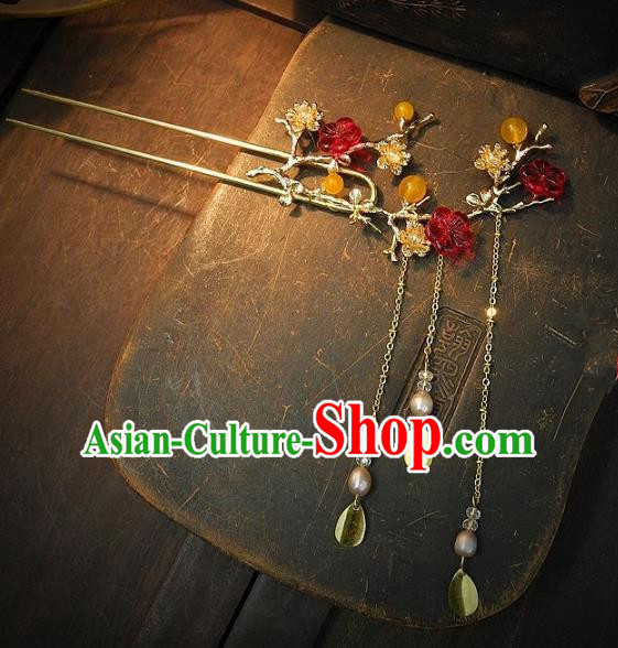Chinese Handmade Classical Hair Accessories Wedding Tassel Step Shake Ancient Hanfu Hairpins for Women
