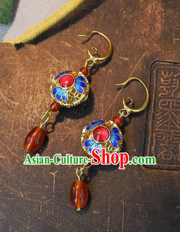 Asian Chinese Traditional Handmade Jewelry Accessories Palace Lady Cloisonne Earrings for Women