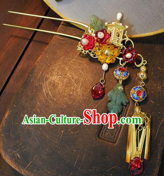 Chinese Handmade Classical Hair Accessories Ancient Wedding Hanfu Cloisonne Hairpins for Women