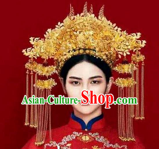 Chinese Handmade Classical Hair Accessories Ancient Wedding Hanfu Golden Phoenix Coronet Headwear for Women