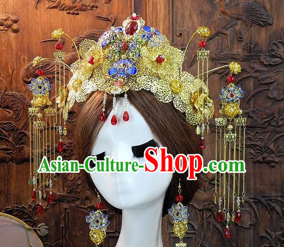 Chinese Handmade Classical Hair Accessories Ancient Wedding Cloisonne Phoenix Coronet Hanfu Headwear for Women