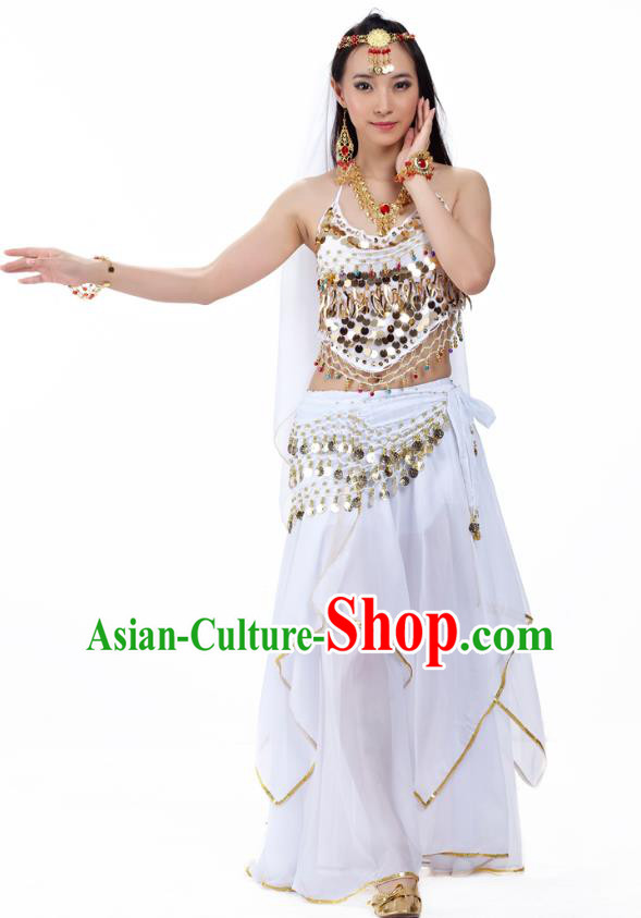 Asian Indian Belly Dance White Costume Stage Performance Outfits, India Raks Sharki Dress for Women