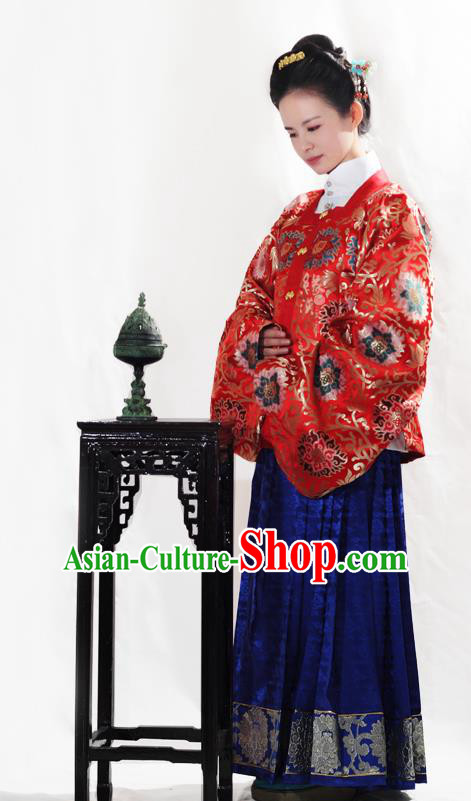 Asian China Ming Dynasty Palace Lady Hanfu Clothing Ancient Empress Embroidered Costume for Women