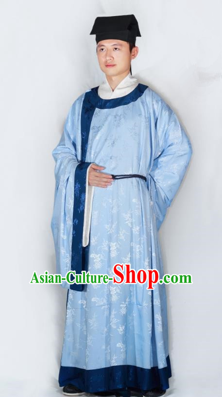China Song Dynasty Scholar Hanfu Clothing Ancient Minister Blue Robe for Men